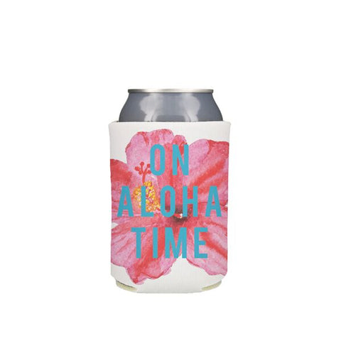 On Aloha Time Hibiscus Koozie