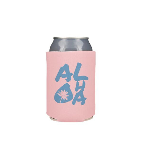 Blue Aloha Palms on Pink Koozie