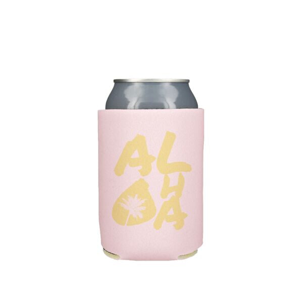 Yellow Aloha Palms on Pink Koozie