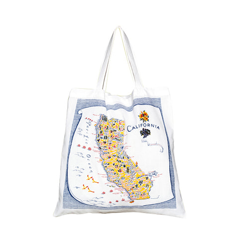 21x21in California, Blue, Map Tote-Large