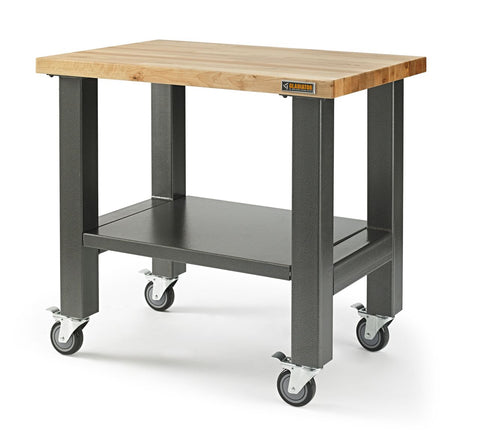 3' Wide Mobile Workstation with Hardwood Top