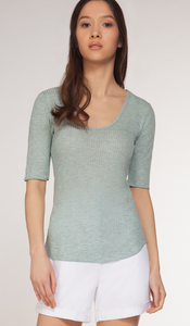 Mint Scoop Neck Ribbed Top