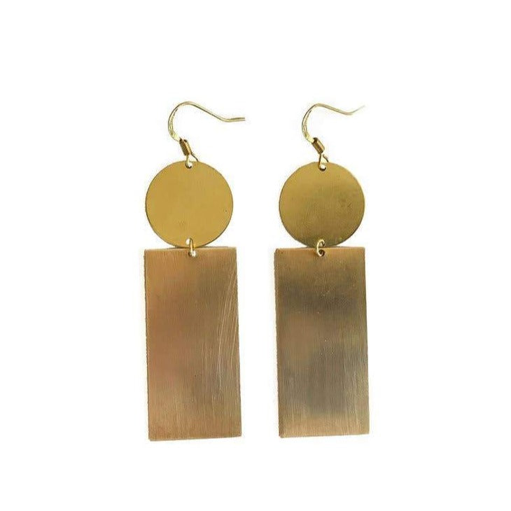Modern Rectangle Circle Earrings