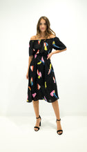 Load image into Gallery viewer, Black Off the Shoulder Midi Dress