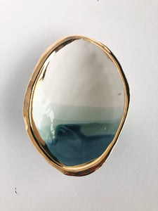Ceramic Abalone Dish, in Ocean with 22K Gold