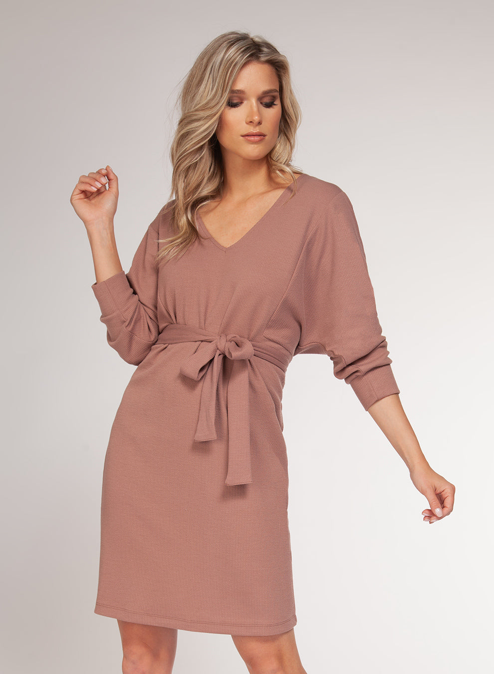 Taupe Tie Front Dress