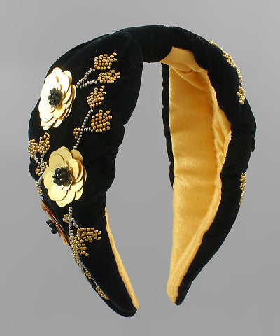 Gold Flower Velevet Headband