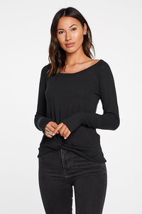 Black Linen Ribbed LS Tee