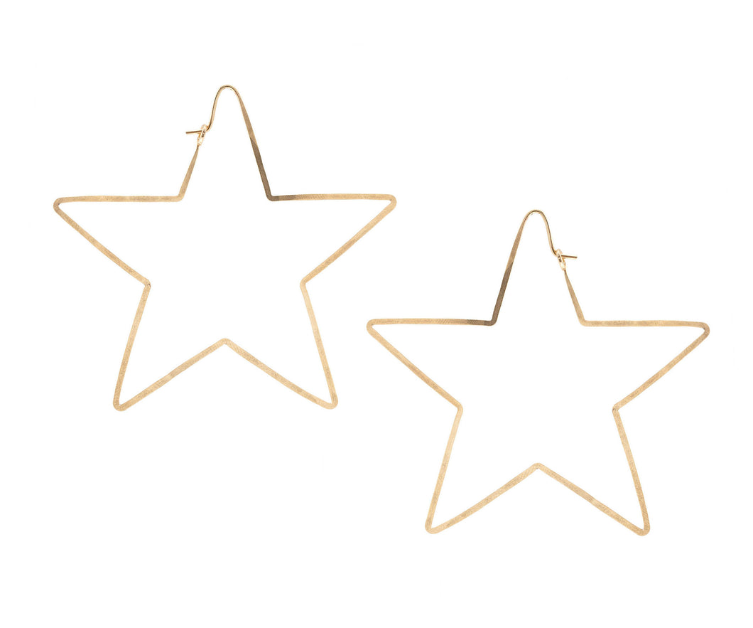 Gold Hammered Star Earrings