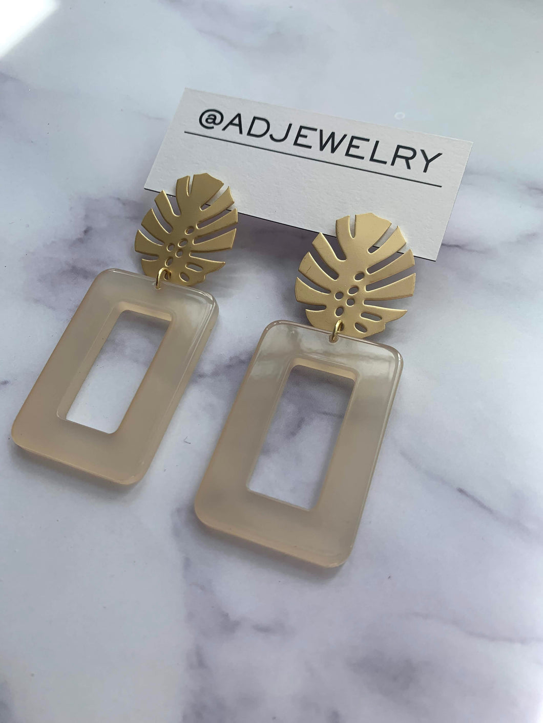 Monstera Square Earrings