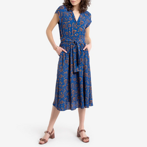 Royal Blue Floral Wrap Dress