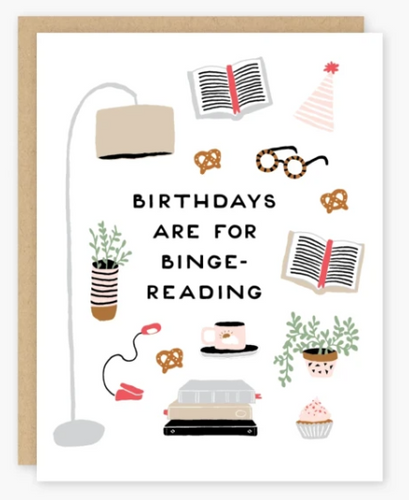 Binge Reading Birthday Card