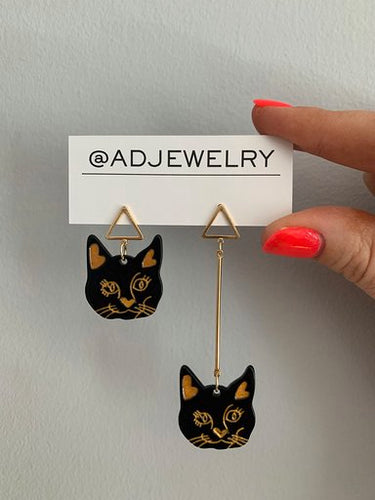 Black Cat Face Earrings