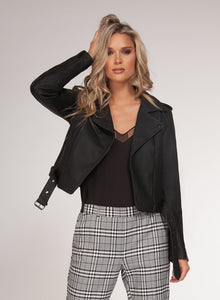 Black Snake Faux Leather Moto Jacket