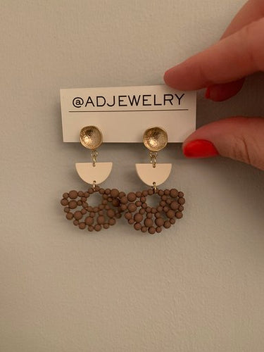 Brown Beaded Drop Earrings