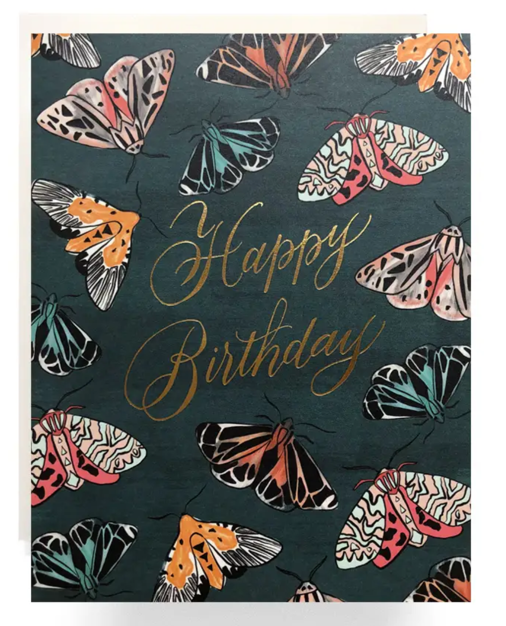 Emerald Moth Birthday Card