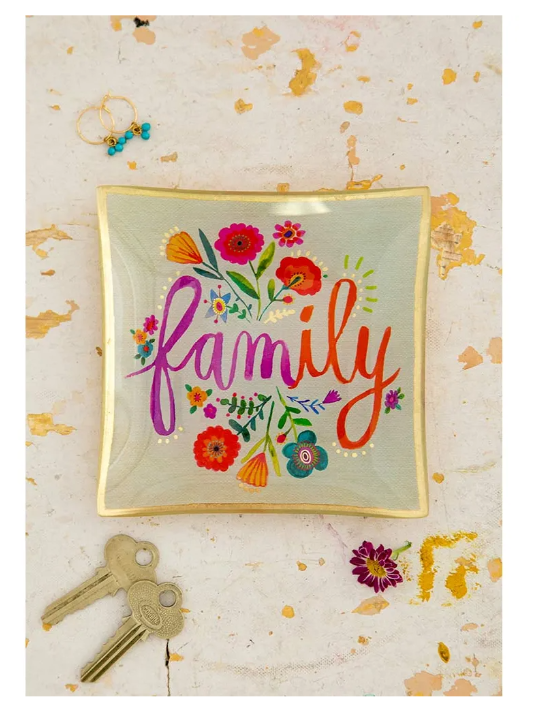 Family Glass Keepsake Dish