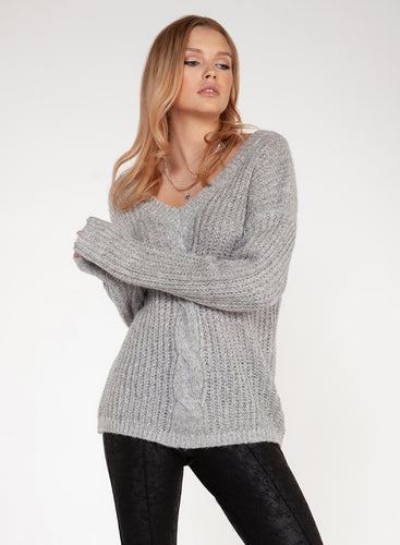Grey Cableknit Sweater