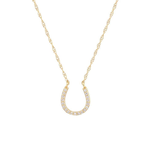 Horseshoe Pave Charm Necklace