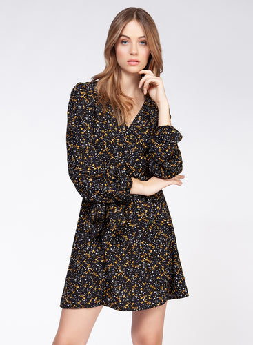 Marigold Floral Wrap Dress