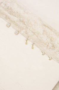 Moon, Arrow & Square Crystal Stud Set
