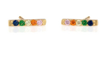 Load image into Gallery viewer, Rainbow Bar Dash Pave Stud Earrings