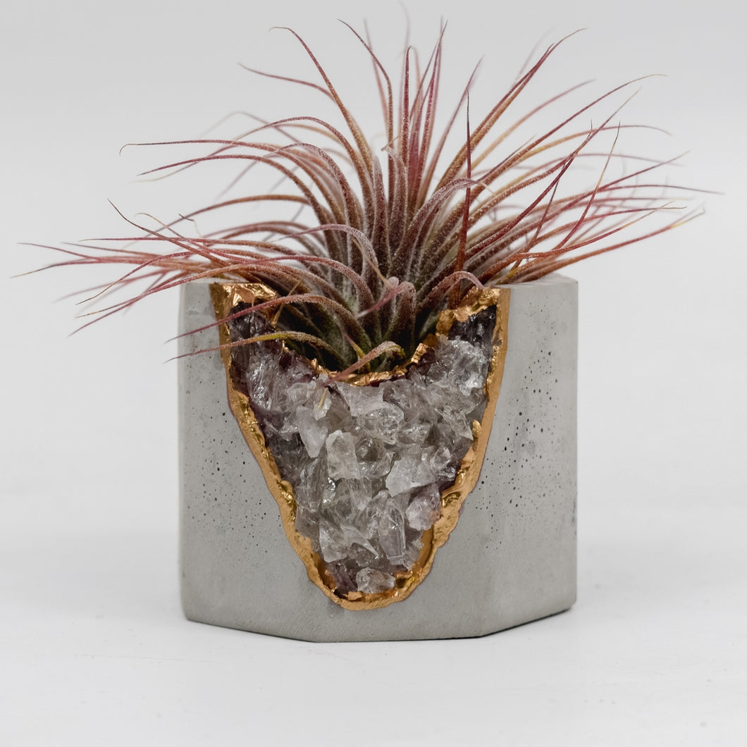 Smoky Quartz Geode Planter