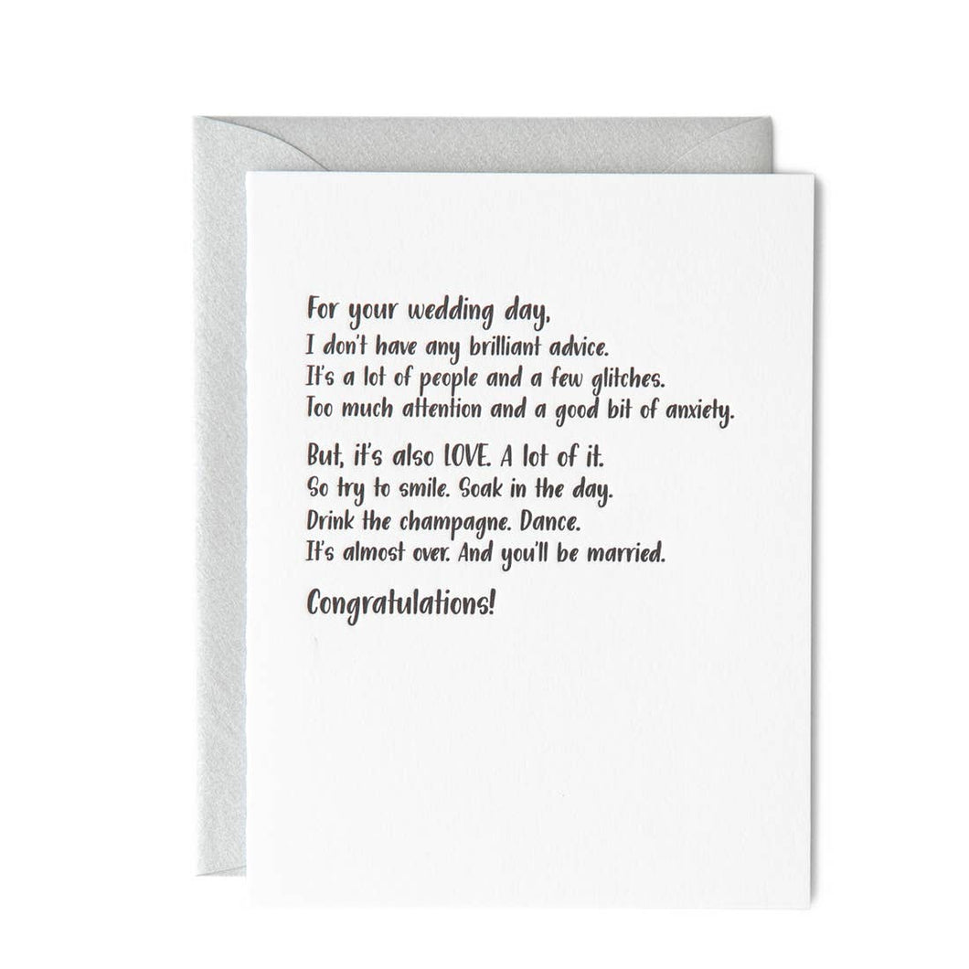 Wedding Day Brilliant Advice Card