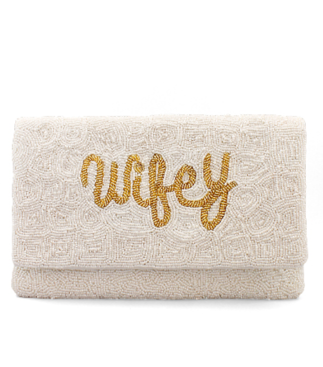 Wifey Embroidered Bead Clutch