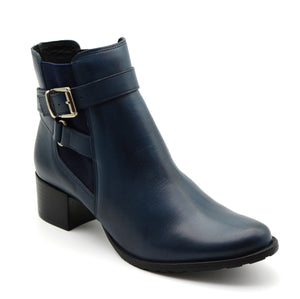 Adriana Navy Leather Ankle Boots