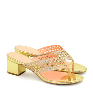 Julieta Shiny Block Heel in Gold