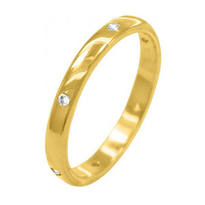 Plain 18K Gold Ring with Rhinestones
