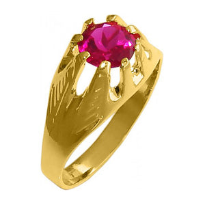 18k Gold Plated Round Halo Ring with Pink Rhinestone