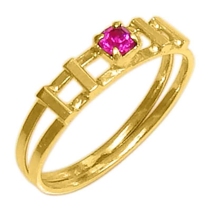 18k Gold Plated Square Halo Ring with Pink Rhinestone