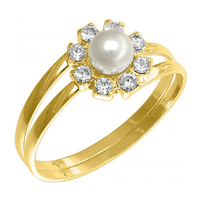 18k Gold Plated Round Ring with Rhinestone & Pearl