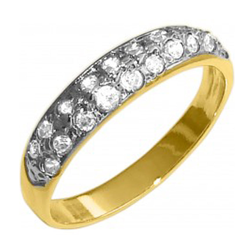 18K Gold Plated Plain Ring with Rhinestones