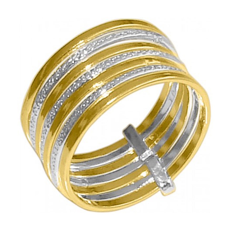 Two Tone Spinner Ring Wide Band