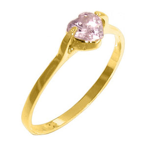 Heart Ring with Pink Christal Stud 18k Gold Plated