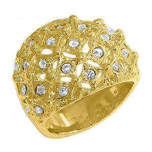 Becky 18k Gold Plated Round Ring with Rhinestone