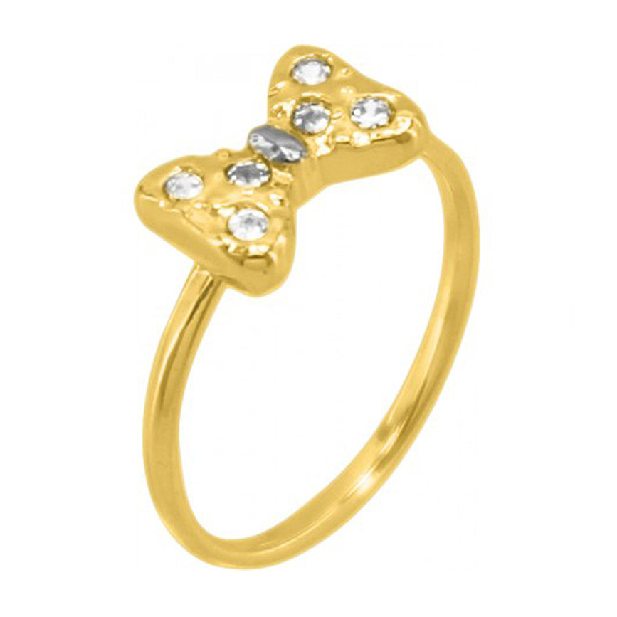 Bowknot 18k Gold Plated Round Ring with Rhinestone