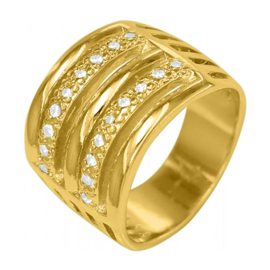 Wide 18k Gold Plated Round Ring with Rhinestone