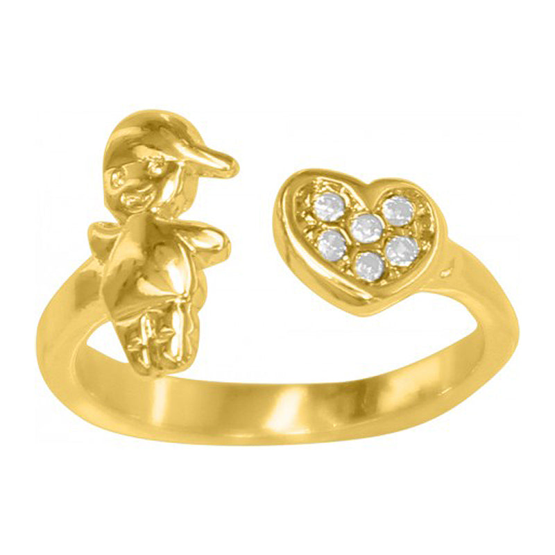 Heart & Boy Adjustable 18K Gold Plated Ring