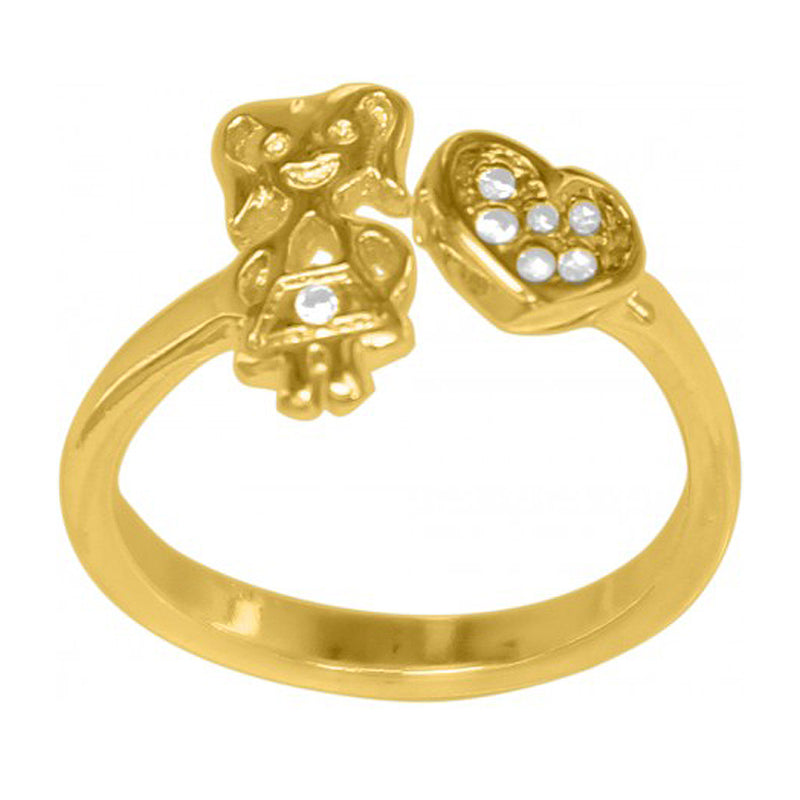 Heart & Girl Adjustable 18K Gold Plated Ring
