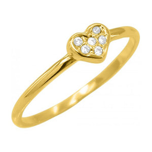 Heart Ring with Studs 18k Gold Plated