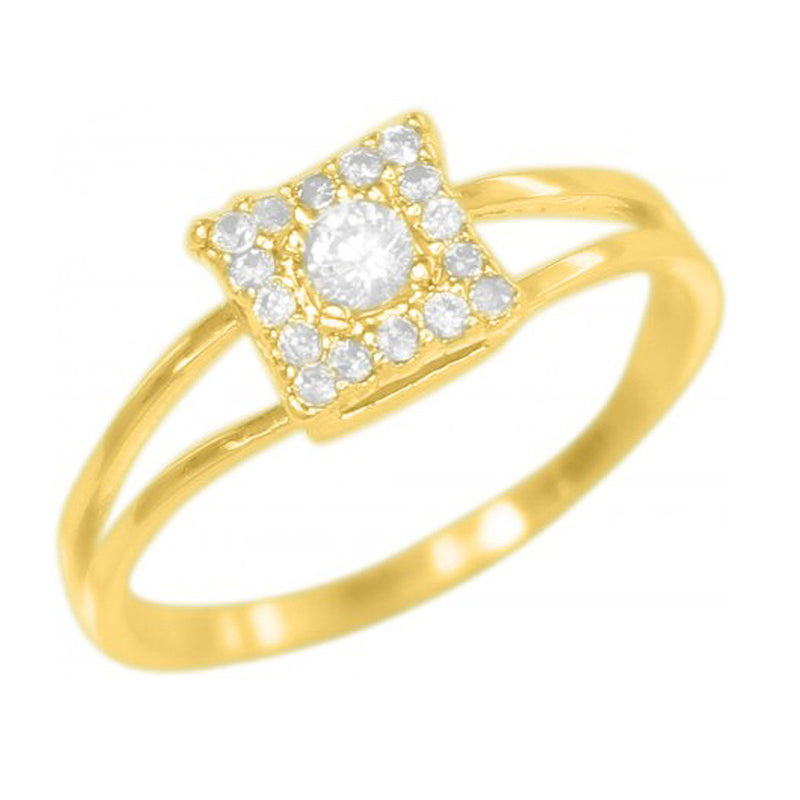 Princess Cut Square with Christal studs 18k Gold Plated