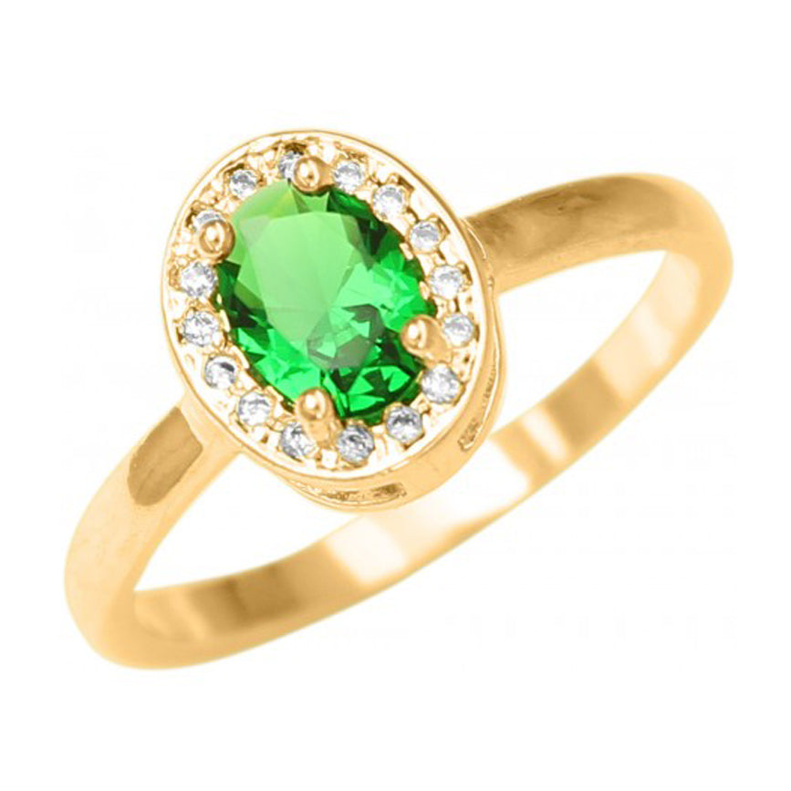 Princess Cut Oval Shape Ring with Green Christal 18k Gold Plated