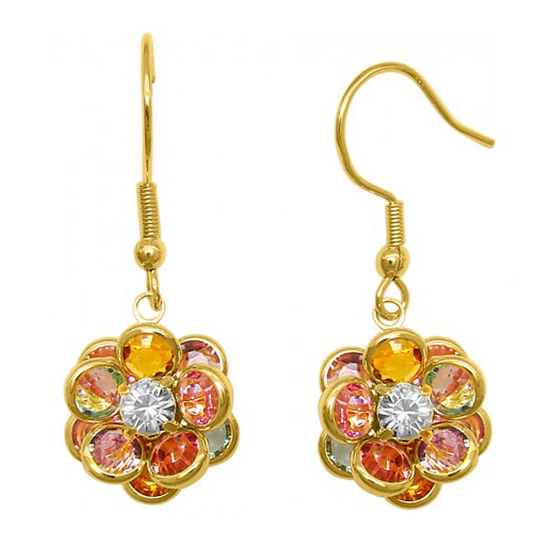 Cilia Colourful Flower Drop Earrings