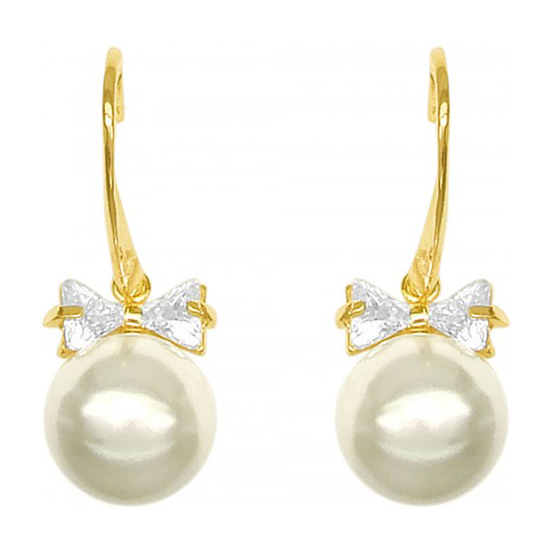Diva Earrings with Crystal Encrusted Pearl Drop in Gold