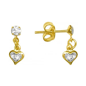 Elza Heart Drop Stud Earrings