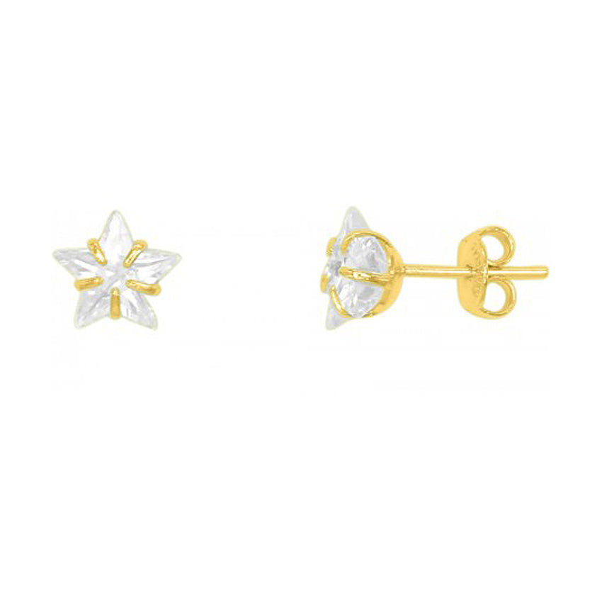 Star Earrings with Rhinestones in Gold